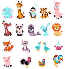 Big set isolated animals and birds. Vector collection funny animals. Cute animals: forest, farm, domestic, polar in cartoon style. Giraffe, elephant, crab, rabbit, fox, pig, llama, panda, lion, cat