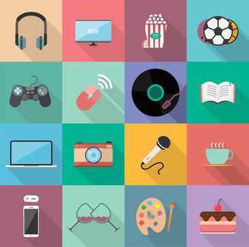Set of entertainment flat icons design, Element for website,application and content. With long shadow on square background. 12 icons.