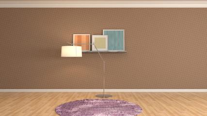 Empty interior. 3d illustration