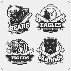 Set of cricket badges, labels and design elements. Sport club emblems with grizzly bear, panther, coyote and eagle. Print design for t-shirts.