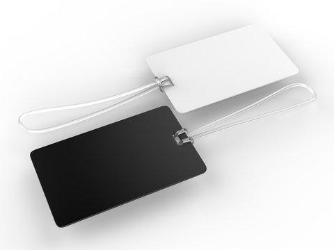 Blank Plastic Travel Number Luggage Identifier Tag for mock up. 3d render illustration.