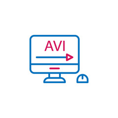 Video production, avi  icon. Element of 2 color video production icon. Premium quality graphic design icon. Signs and symbols collection icon for websites, web design