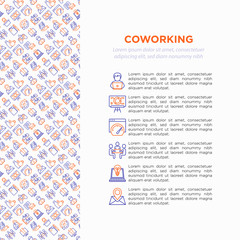 Coworking office concept with thin line icons: workplace, meeting room, conference hall, smart office, parking, reception, legal address, fast internet, 24 hour access, IT support. Vector illustration