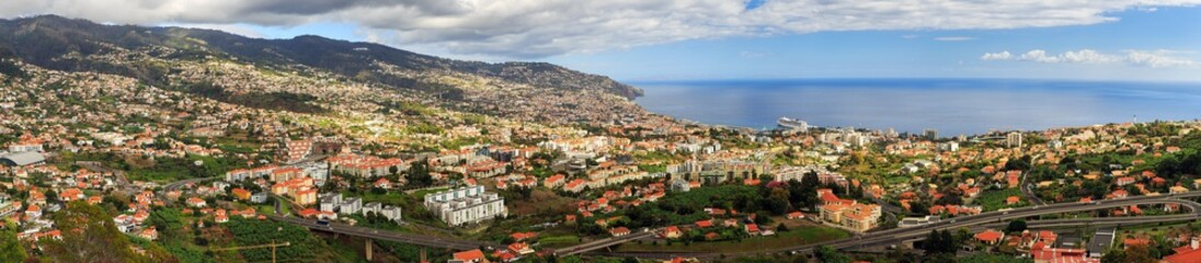 Beautiful panoramic cityscape of the skyline of the city Funchal on the island Madeira in summer