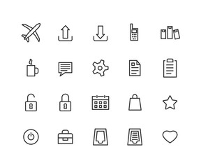 Universal Outline Icons For Web and Mobile. Contains such Icons as Airplane, Tea Cup, Calendar, Options and more. Editable vector stroke. 48x48 Pixel Perfect.