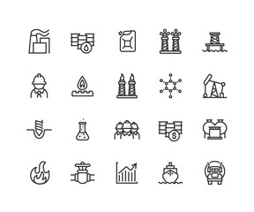 Simple Set of Oil industry Vector Line Icons. Contains such Icons as Gas production, transportation, storage and more. Editable vector stroke. 48x48 Pixel Perfect.