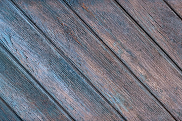 Wooden background, light texture of an old wooden shield or panel with traces of blue paint