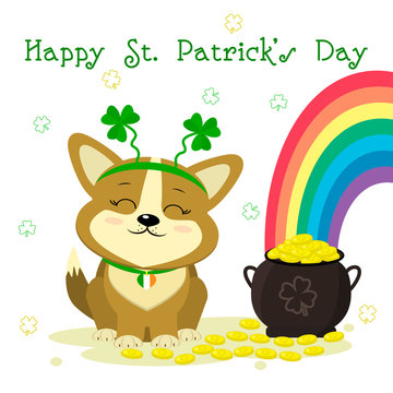 St.Patrick s Day. Cute dog corgi bezel with clover, bowler with gold coins, rainbow, clover. Cartoon style, flat design. Vector illustration