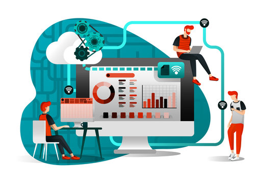 vector illustration of file storage technology, sharing, remote worker, network industry 4.0. people sharing work file. cloud improvement to transfer is effective and faster. flat cartoon character