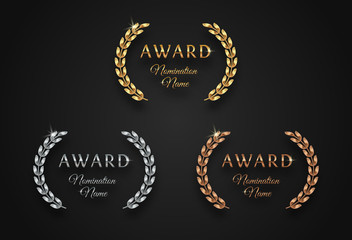 Award sign with laurel wreath - golden, silver and bronze variants, isolated on black background. Award sign vector set.