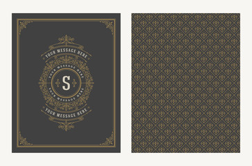 Flourishes and ornamental vector vintage design for greeting card or wedding invitation. Retro page design with copy space for shop, store, restaurant, boutique, hotel and etc.