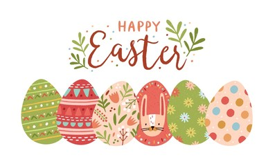 Festive greeting card template with Happy Easter wish handwritten with elegant cursive font and decorated eggs on white background. Flat vector illustration for spring religious holiday celebration.