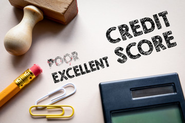 Poor and Ehcellent credit score concept