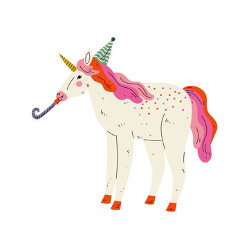 Lovely Unicorn Wearing Party Hat with Whistle Blower,  Animal Character for Happy Birthday Design