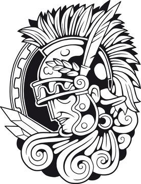 Ancient Roman Antique Warrior, outline illustration, vector image