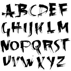 Grungy modern dry brush lettering. Handdrawn grunge ink font. Vector illustration.