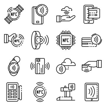 Nfc technology icons set. Outline set of nfc technology vector icons for web design isolated on white background