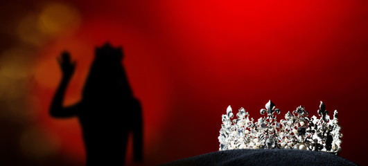 Silver Diamond Crown of Miss Pageant Beauty Universe World Contest sparkle light on black pillow, ready for wear Most beautiful Winner, studio lighting super red gradient background dramatic