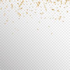 Serpentine golden  isolated on checkered background. Gold confetti. Festive vector illustration - Векторная графика