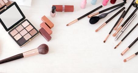 Set of decorative cosmetics on table