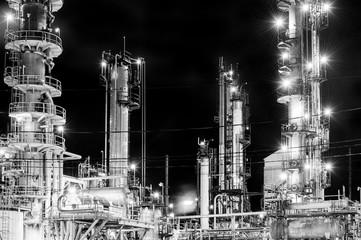 Lights of oil refinery near Halifax, Nova Scotia, Canada
