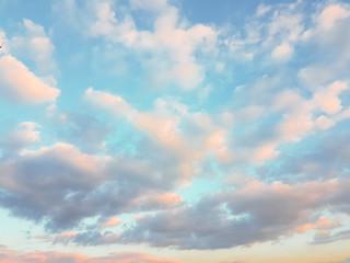 sky blue clouds sunset spring season Wall mural