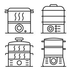 Steamer icons set. Outline set of steamer vector icons for web design isolated on white background