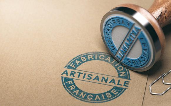 Label fabrication française artisanale. Marquage produit fabriqué en France.
