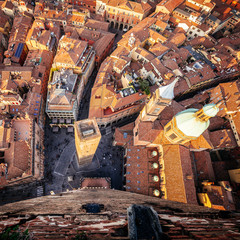 Bologna, aerial view of the city from Asinelli Tower