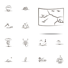 desert map icon. Desert icons universal set for web and mobile