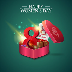 Greeting green card for women's day with gift in form of heart and gifts with the number eight