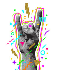 Rock'n'roll or Heavy Metal hand sign. Two fingers up. Engraved style hand and multicolored abstract elements. Vector illustration.