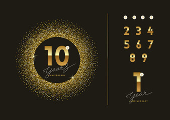 Anniversary golden logo with glitter gold frame. There is additional elements for compilation any dates. Vector illustration. Fotomurales