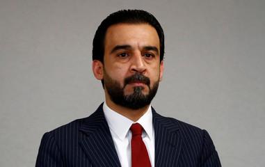 The speaker of Iraq's parliament Mohammed al-Halbousi addresses the media in Berlin