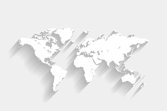 White world map on gray background, vector