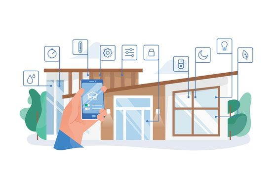 Hand holding smartphone with mobile application for house automation against residential building on background. Smart home, remote control of lighting, heating, safety. Flat vector illustration.