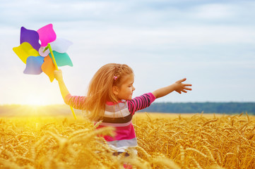 Wall Mural - Girl holding wind toy  on wheat field.