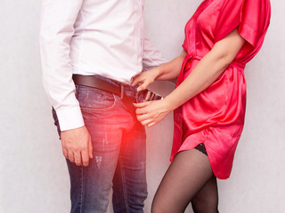 A girl unbuttons her pants in a contagious male sexually transmitted infection, sexually transmitted infections, sexual