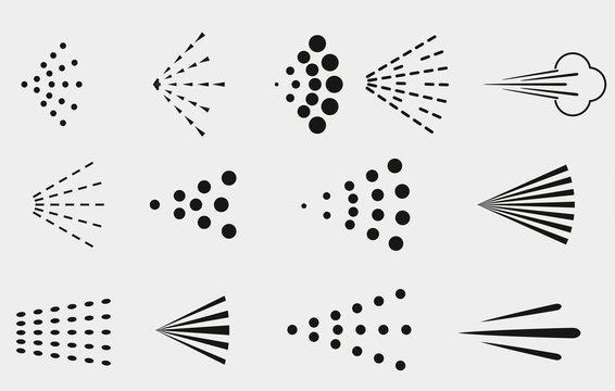 Spray icons set. Simple black fluid spray cloud symbols.