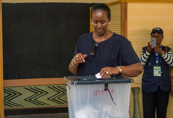 Rwandan First Lady Jeannette Kagame casts a vote in Kigali