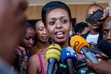 Diane Shima Rwigara speaks to the media in Kigali