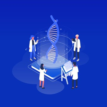 Group of scientists or researchers wearing white coats analyzing DNA molecule in science lab. Genetic engineering, biotechnology, genome modification and genomics. Isometric vector illustration.
