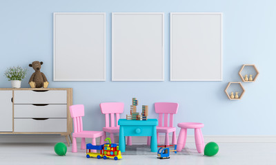 Three blank photo frame for mockup in childern room, 3D rendering