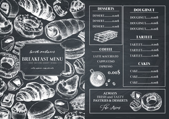 Breakfast menu design. Hand drawn desserts and pastries illustrations. Fast food sketches in engraved style.  Vector template for cafe or bakery design.