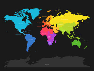 Wall Mural - Colorful map of World divided into regions on dark grey background. Simple flat vector illustration