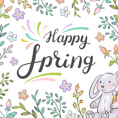 Happy spring. Card with cute bunny, flowers and plants