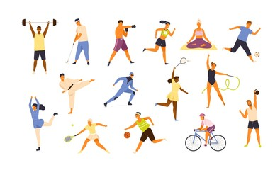 Obraz Collection of cute funny men and women performing various sports activities. Bundle of happy training or exercising people isolated on white background. Vector illustration in flat cartoon style. - fototapety do salonu
