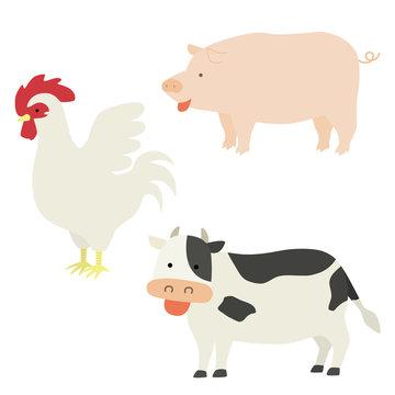 肉になる動物のイラスト