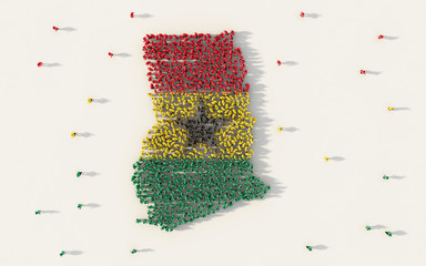 Large group of people forming Ghana map and national flag in social media and community concept on white background. 3d sign symbol of crowd illustration from above gathered together