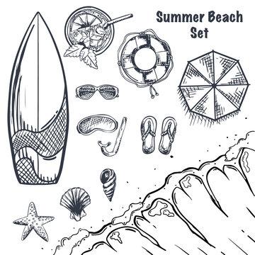 Set of Summer Beach hand draw sketches. Wave, surfboard, drink, sunglass, seashells, starfish. Top view. Vector Illustration.